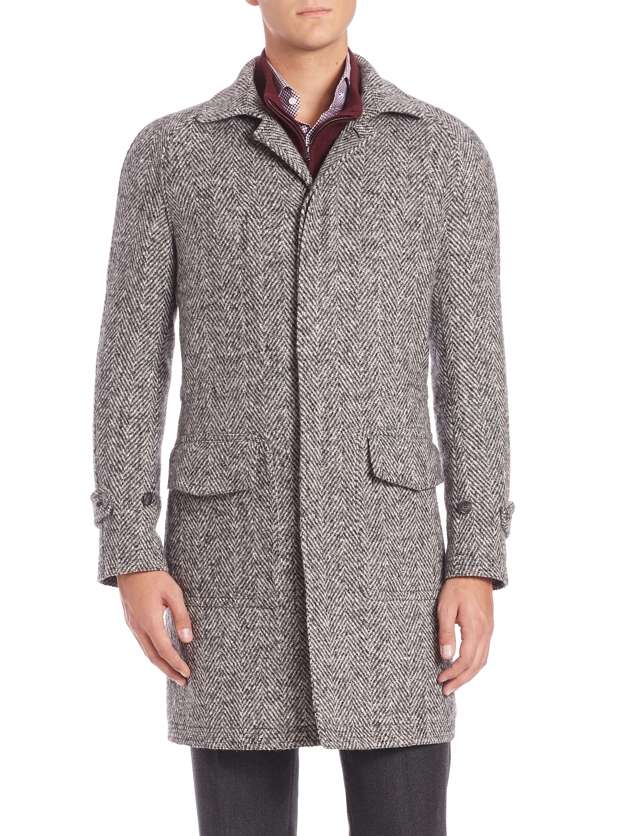 Eidos Donegal Herringbone Coat in Gray for Men | Lyst