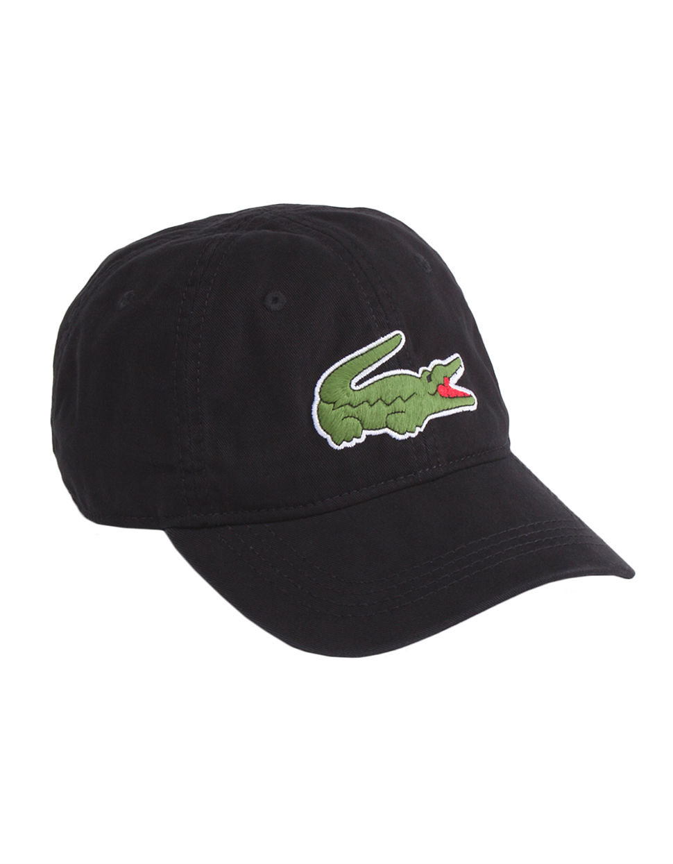 lacoste gabardine large croc cap in black for men lyst
