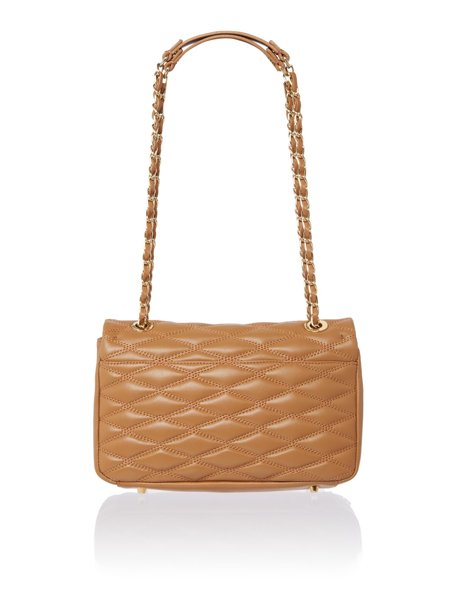 Dkny Quilted Light Tan Flap Over Shoulder Bag in Brown | Lyst