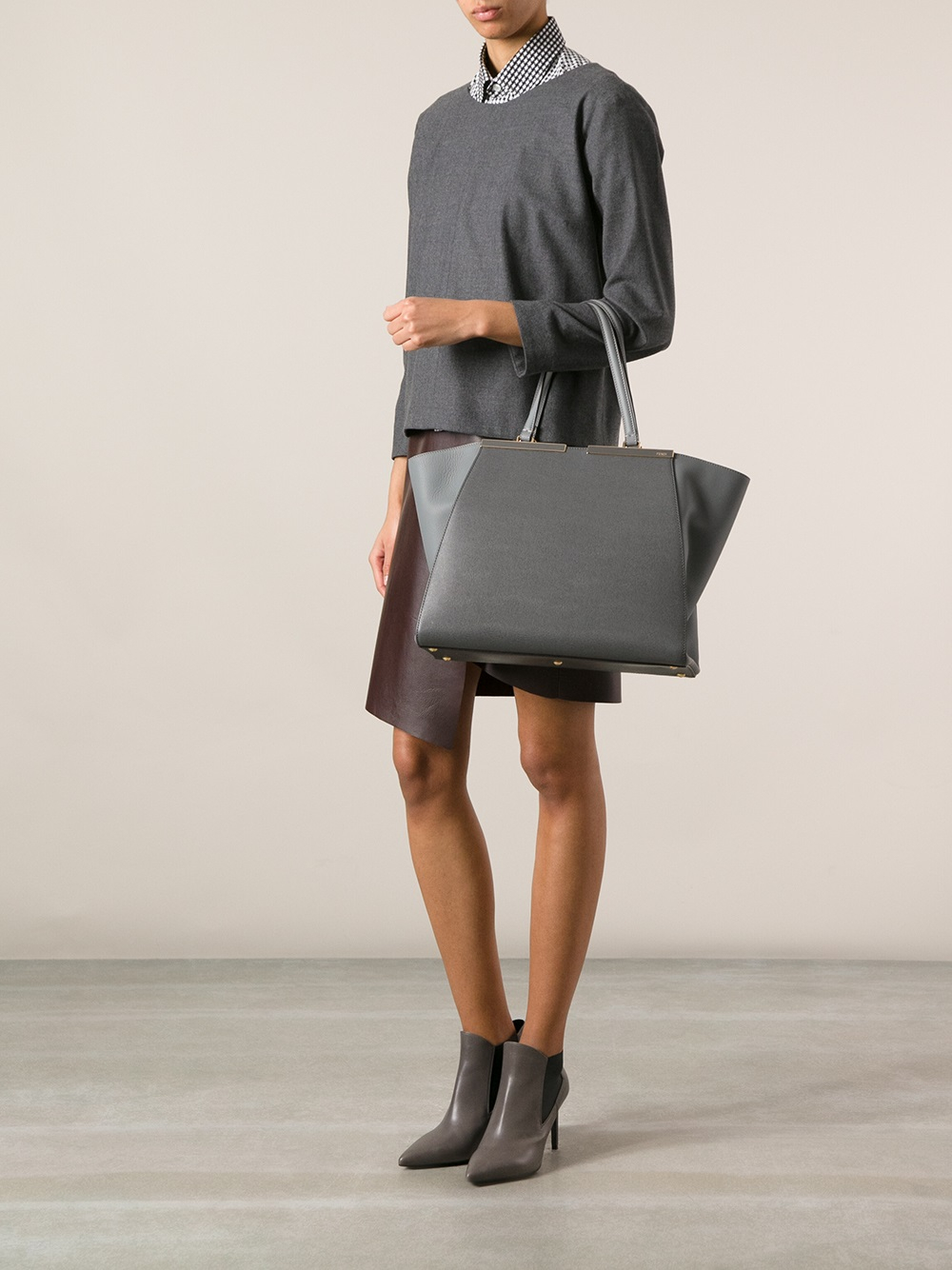 a7c9a99e4197 Lyst - Fendi 3jours Tote in Gray