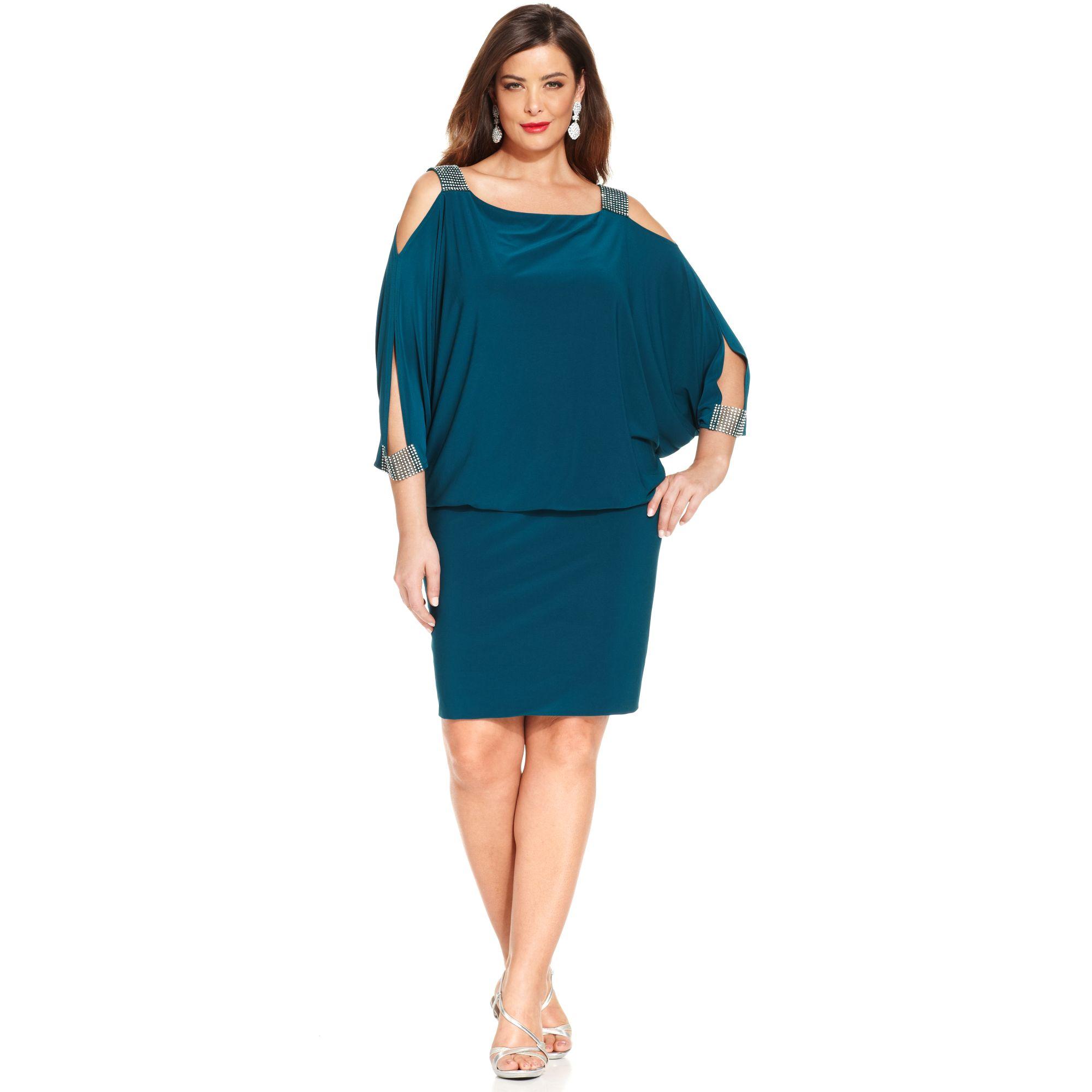 betsy & adam plus size splitsleeve blouson dress in green | lyst