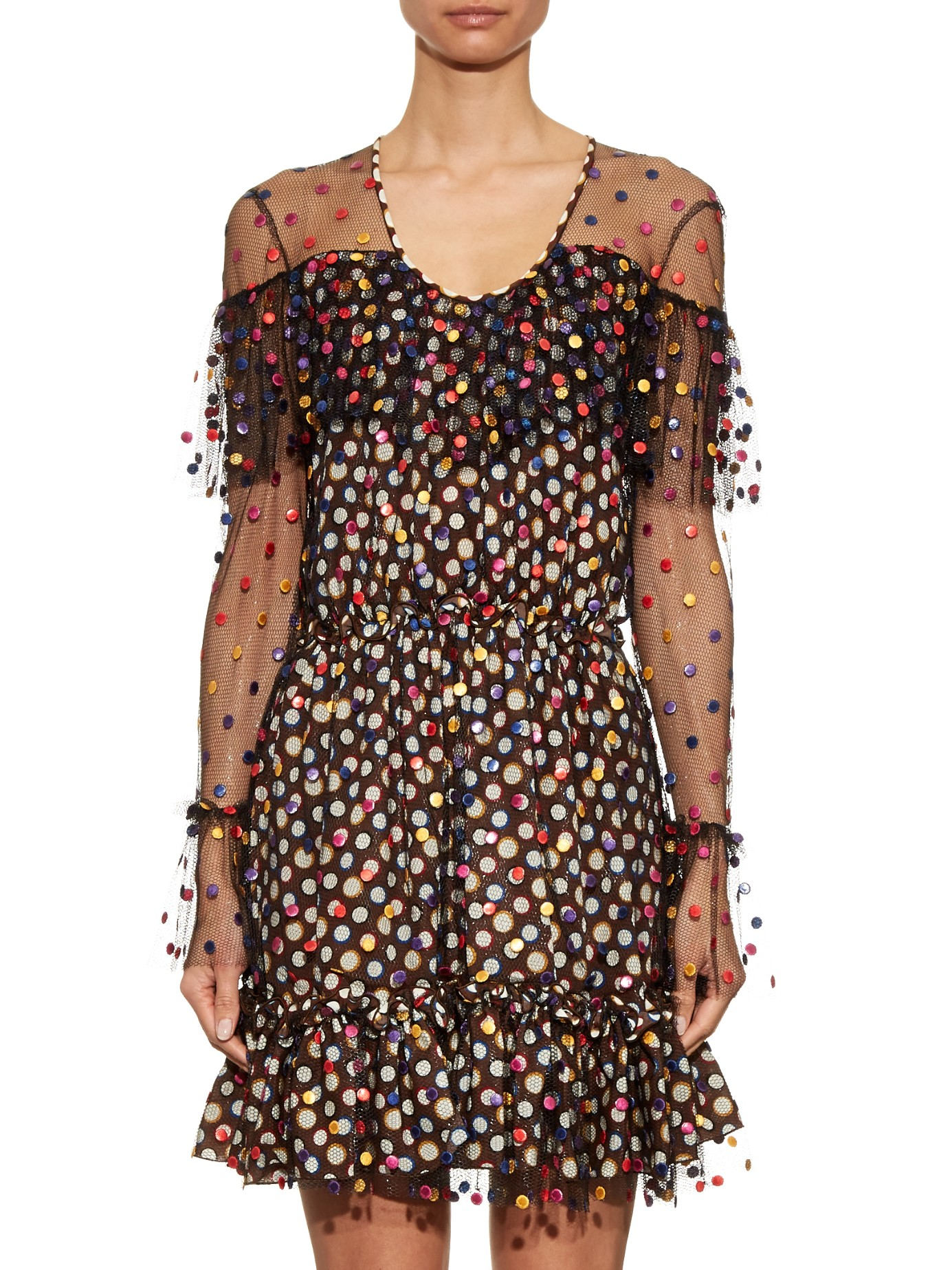 Marco de vincenzo polka dot embroidered tulle dress in