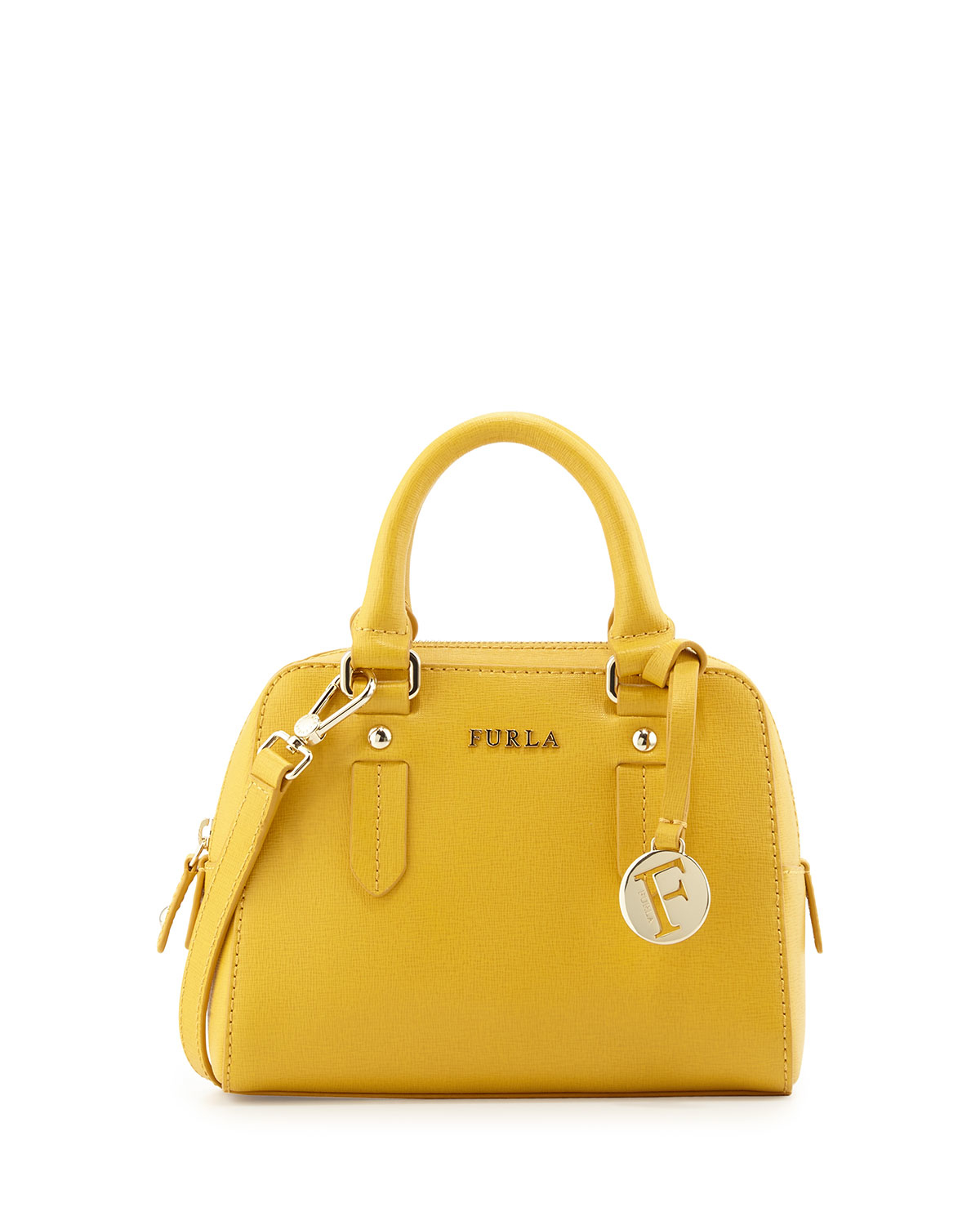 Furla Elena Mini Leather Satchel Bag in Yellow | Lyst