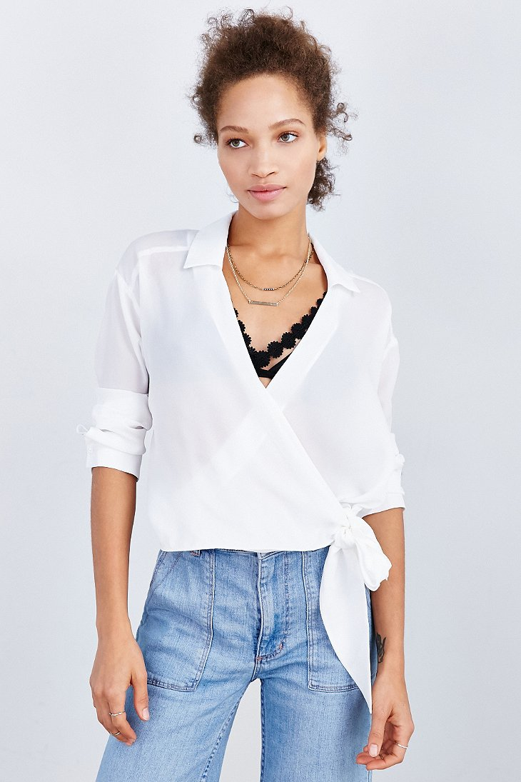 White Side Tie Blouse 94