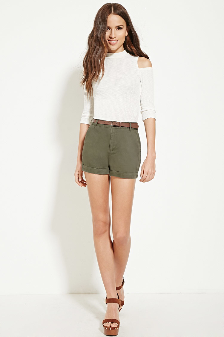 Forever 21 Belted High-waisted Shorts in Green | Lyst