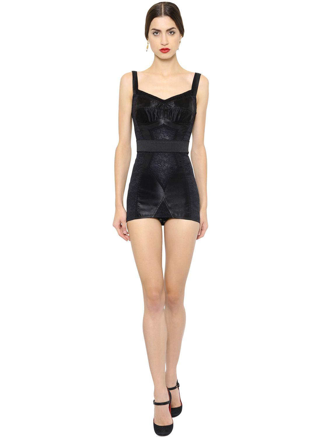 Dolce & gabbana Stretch Satin & Lace Corset Dress in Black | Lyst