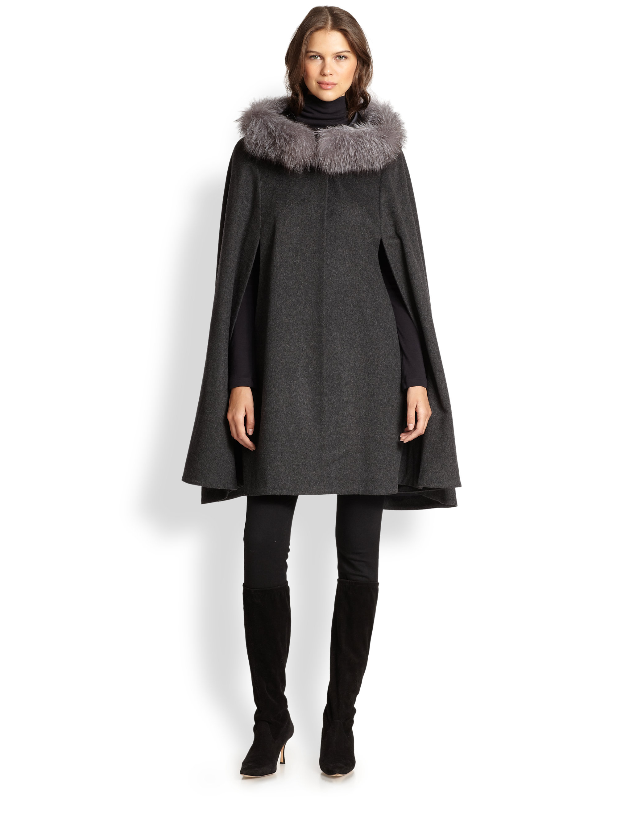Sofia cashmere Fox Fur-trimmed Cashmere Cape in Gray | Lyst