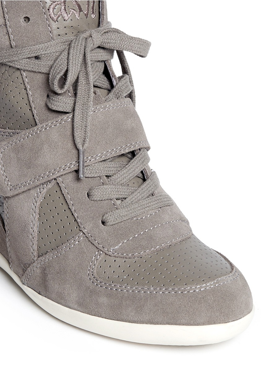 fc093fe7a86 Lyst - Ash  bowie  Suede And Calf Leather Wedge Sneakers in Gray