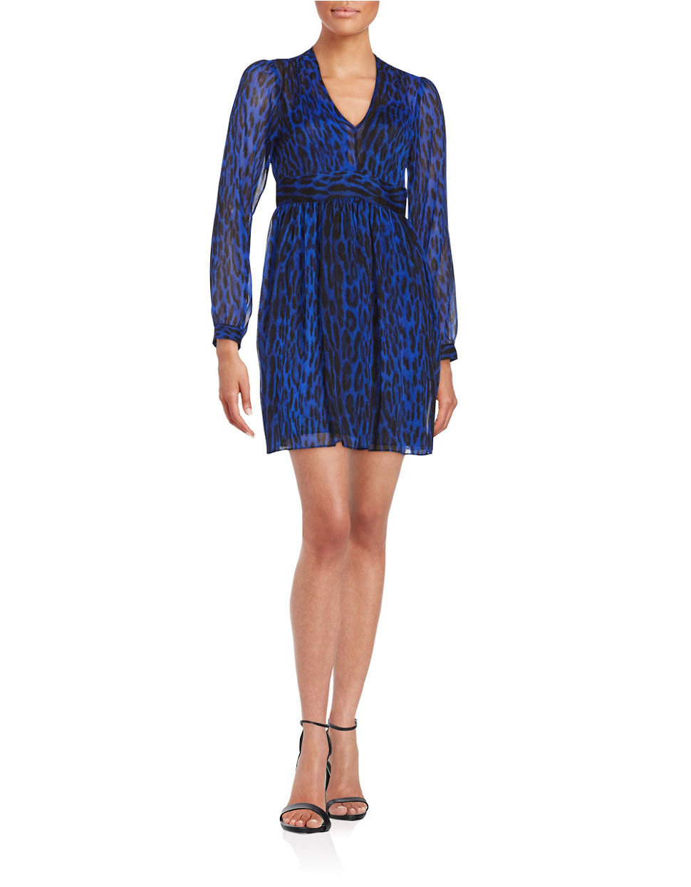 Lyst Michael Michael Kors Leopard Print V neck Dress in Blue
