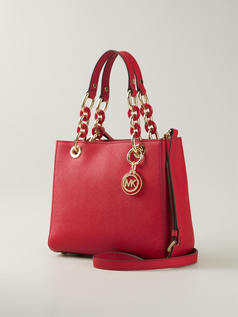 09b498dc40a6 ... coupon code lyst michael michael kors cynthia leather bag in red 3660e  fa5e8