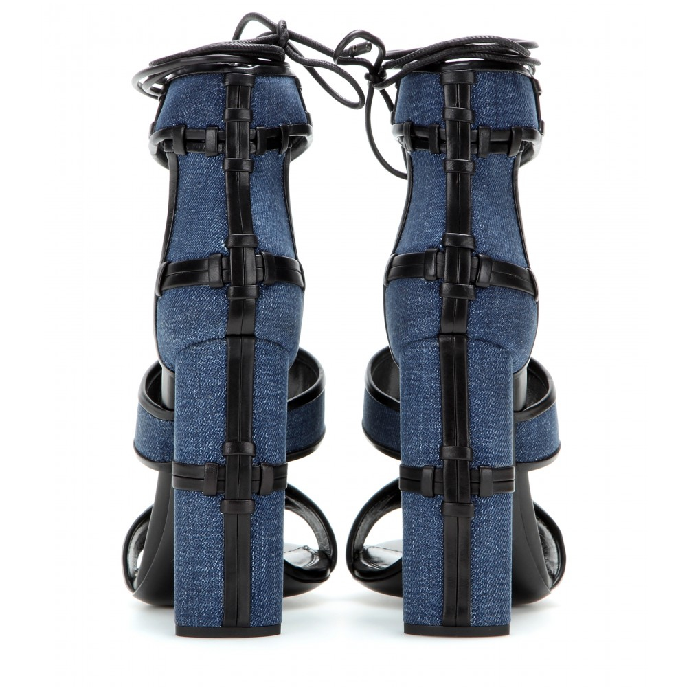 ce1ec53f43c7 Lyst - Tom Ford Patchwork Denim And Leather Sandals in Blue