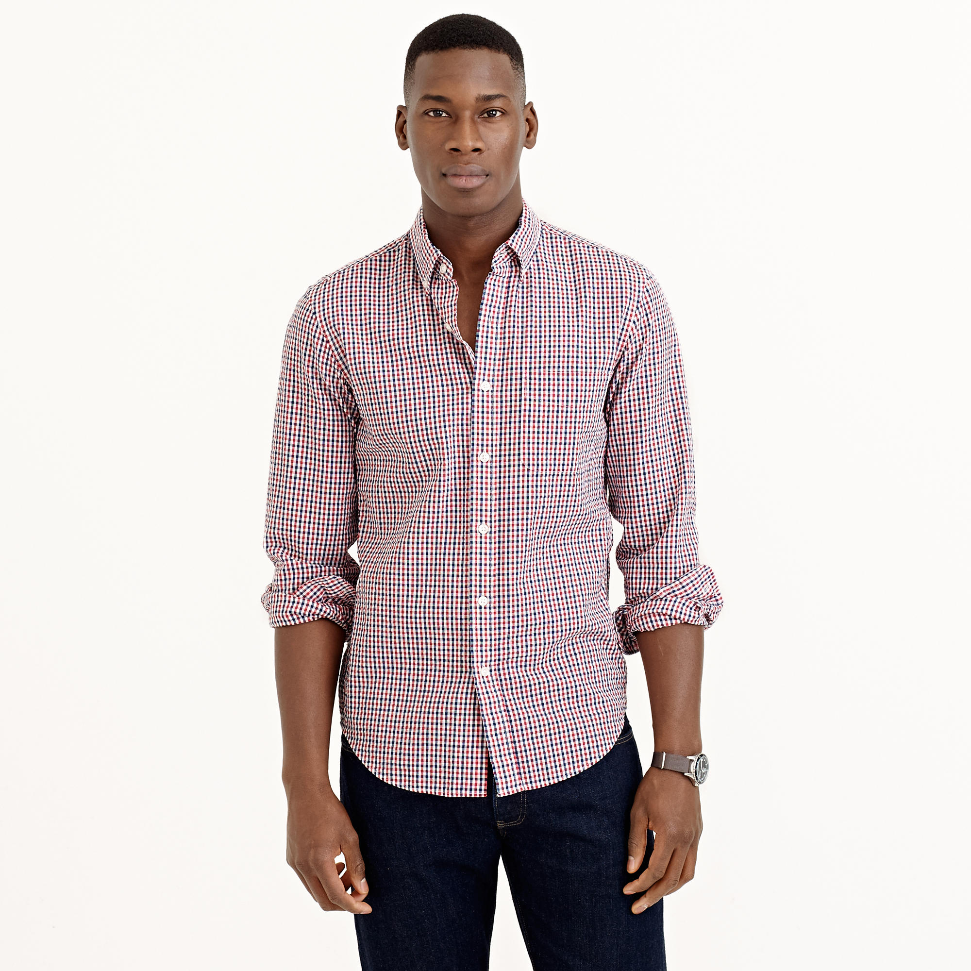 Lyst j crew slim seersucker shirt in red tattersall in for J crew mens outfits