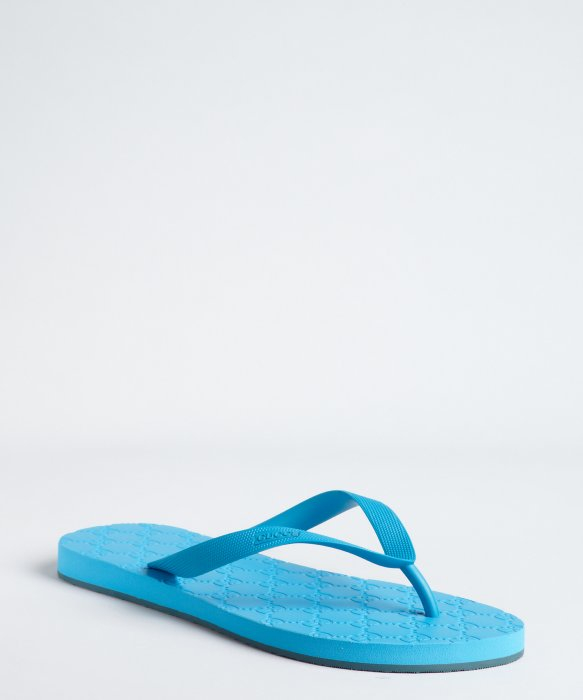 Gucci Cerulean Rubber Thong Flip Flops In Blue For Men Lyst
