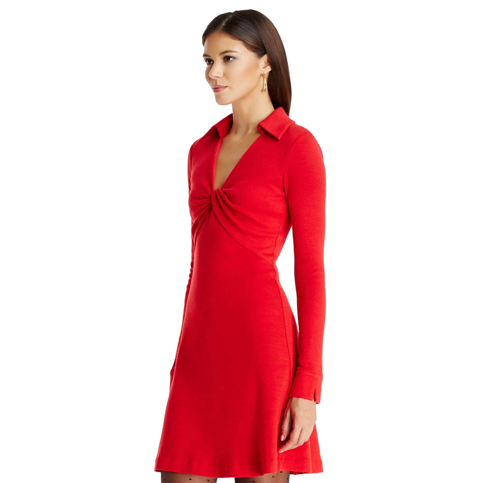 lyst diane von furstenberg dvf twist wool shirtdress in red. Black Bedroom Furniture Sets. Home Design Ideas