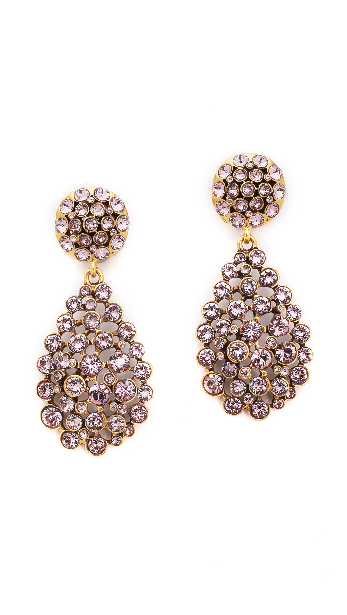Oscar De La Renta Teardrop Clip On Earrings Lilac In