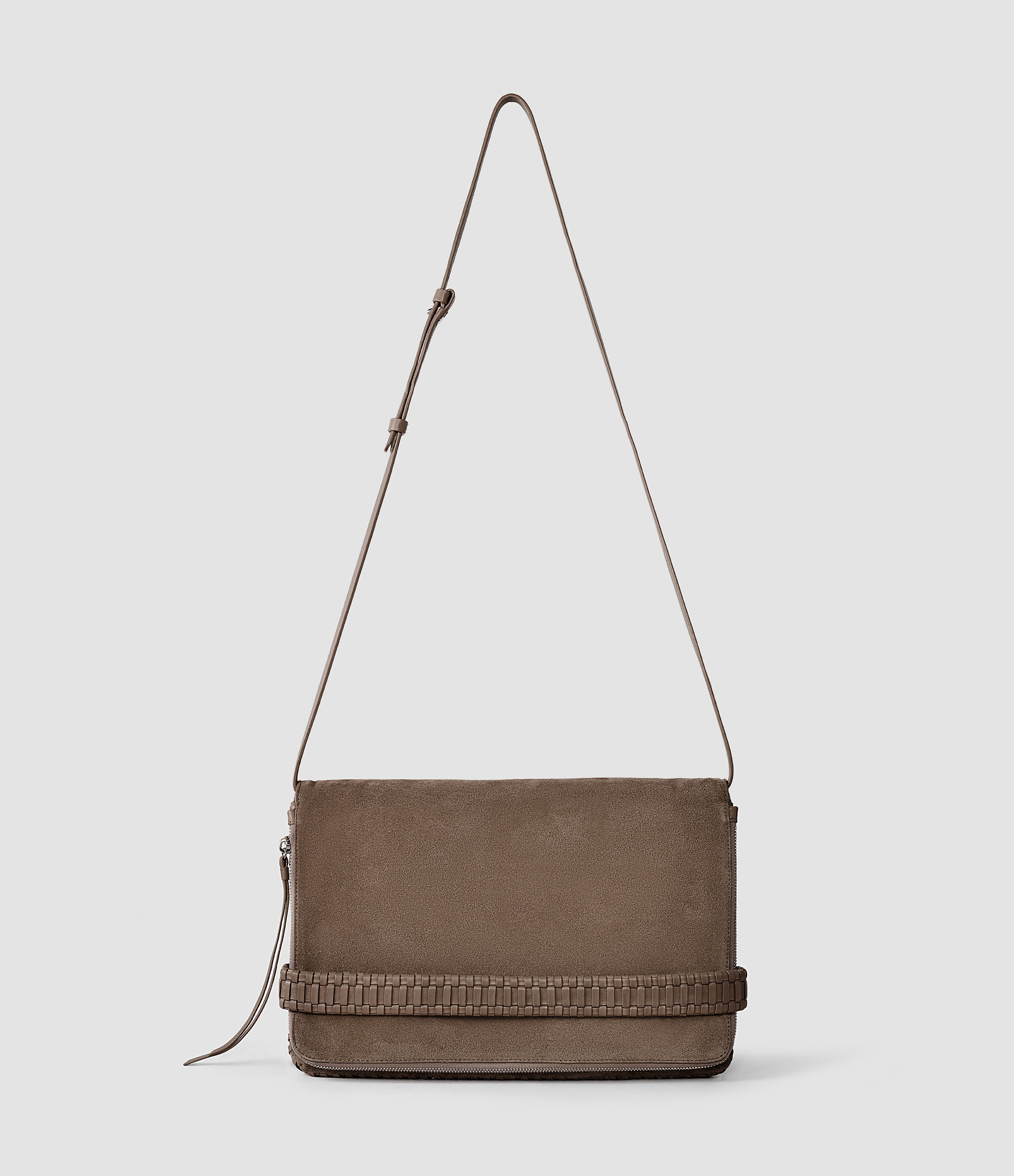 Allsaints Club Large Clutch in Brown