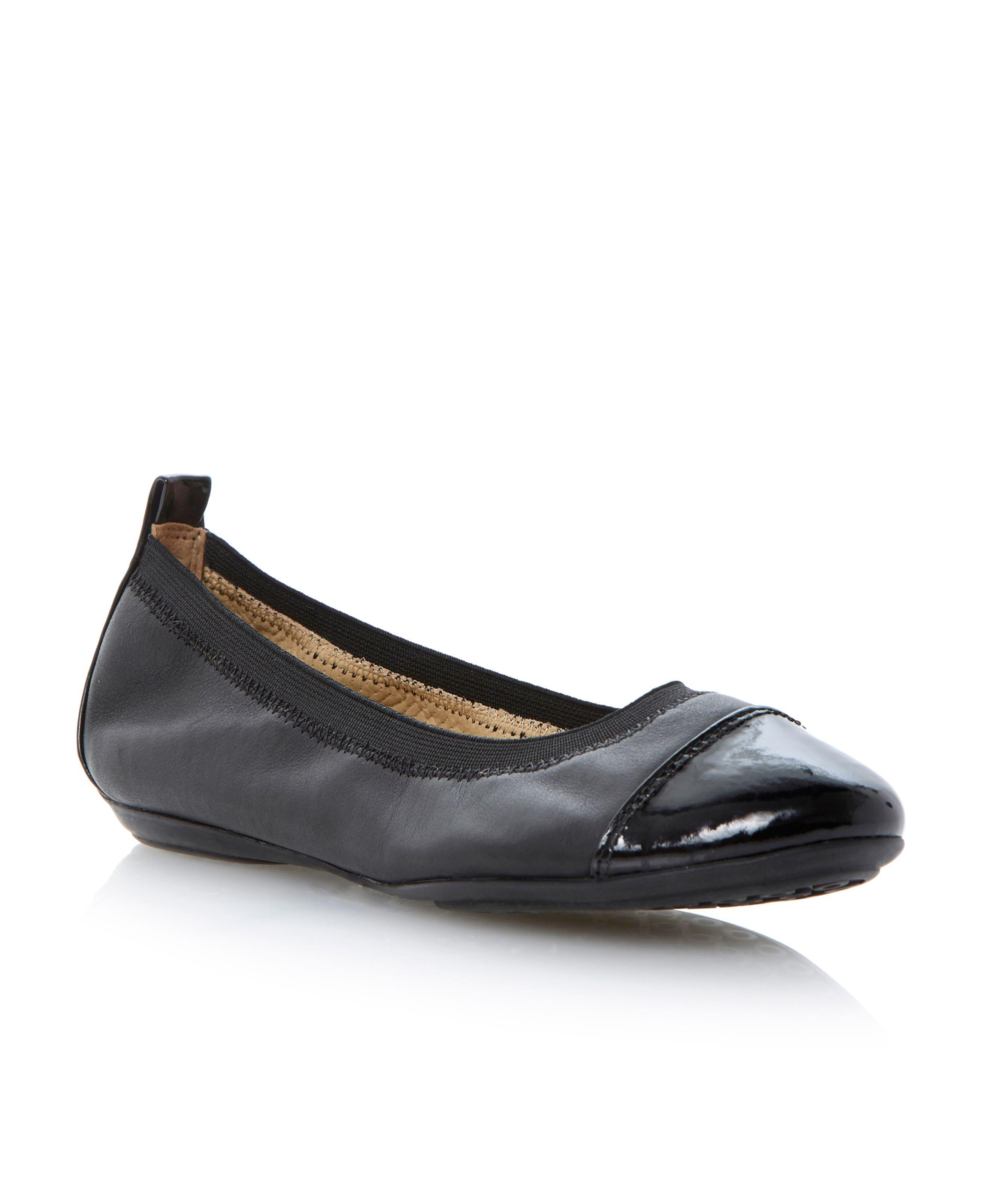 geox charlene leather flat toe ballerina shoes in