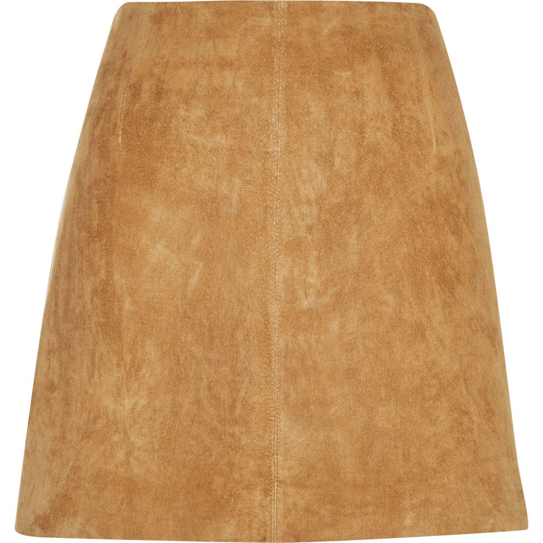 River Island Brown Leather Mini Skirt