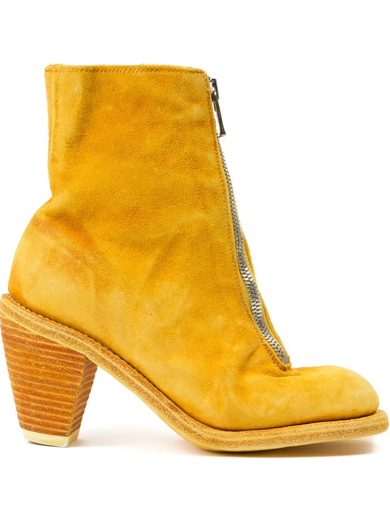 guidi front zip boots in yellow lyst. Black Bedroom Furniture Sets. Home Design Ideas