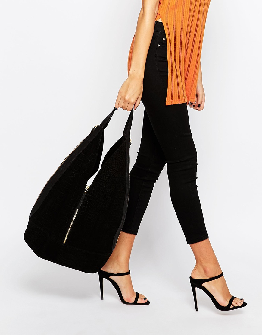 Asos Leather And Suede Slouch Hobo Bag With Zip in Black | Lyst
