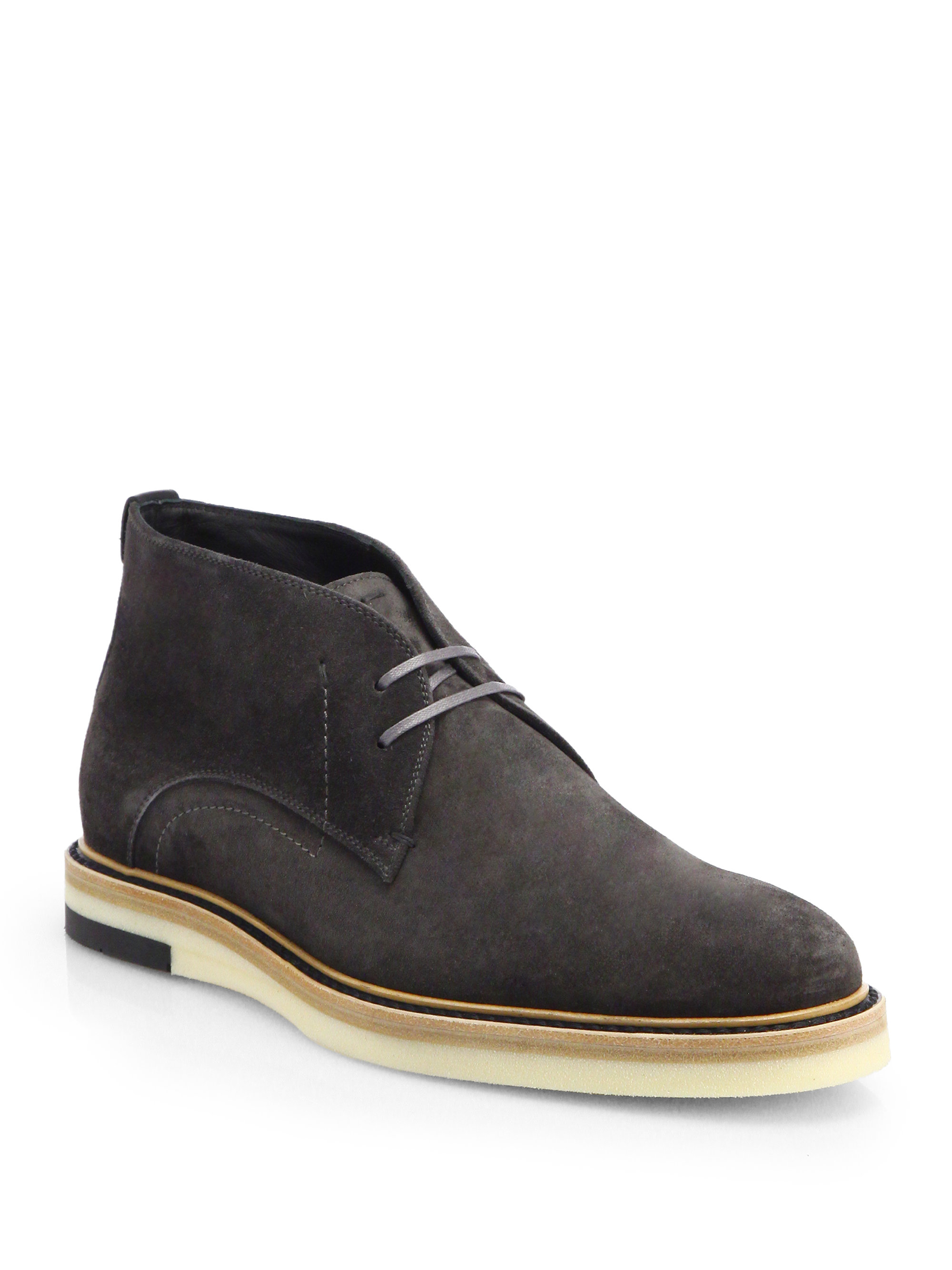 Lyst Fendi Suede Chukka Boots In Black For Men