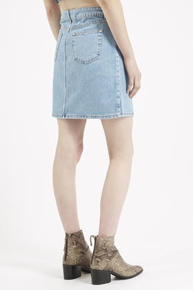 2a532eb584 TOPSHOP Moto High-waisted Denim Skirt in Blue - Lyst