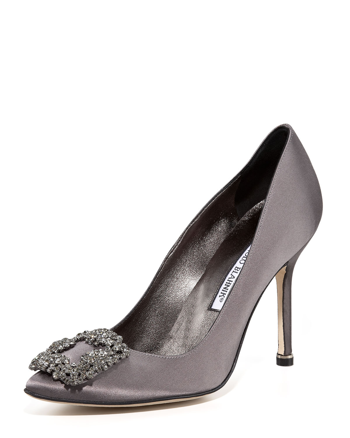 Lyst manolo blahnik hangisi satin pump in black for Who is manolo blahnik