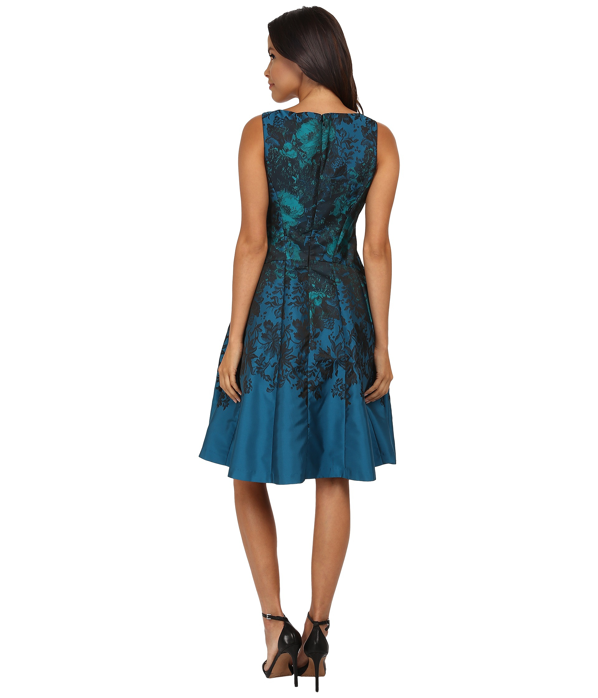 Maggy London Teal Flower Jacquard Fit And Flare In Blue Lyst