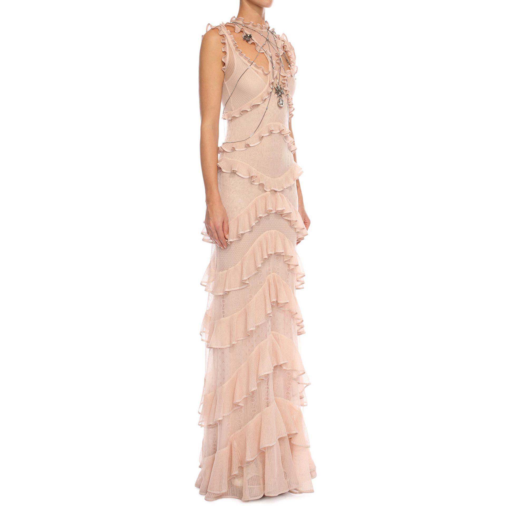 Alexander mcqueen Sleeveless Harness Ruffle Long Dress in Natural ...