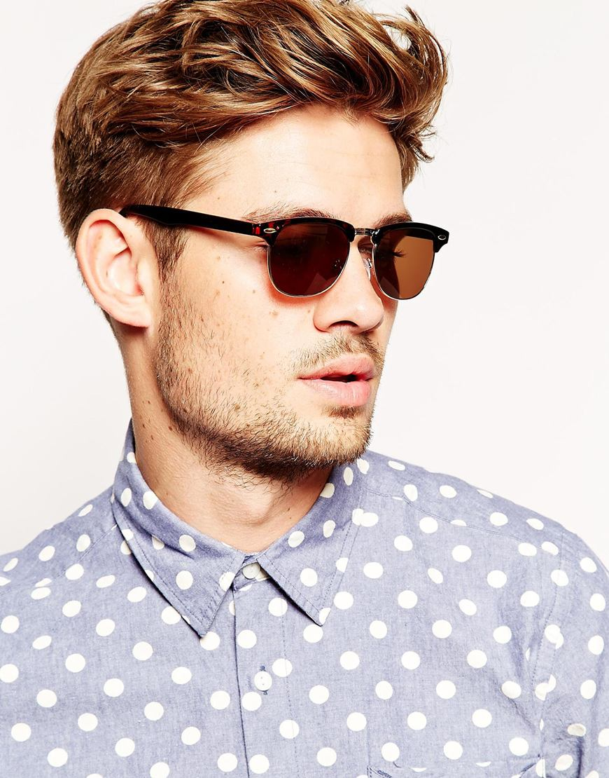 Asos Contrast Retro Sunglasses With Tortoiseshell Frame