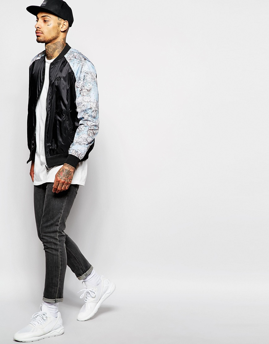 Hype bomber jacket with map print in black for men lyst gallery gumiabroncs Gallery
