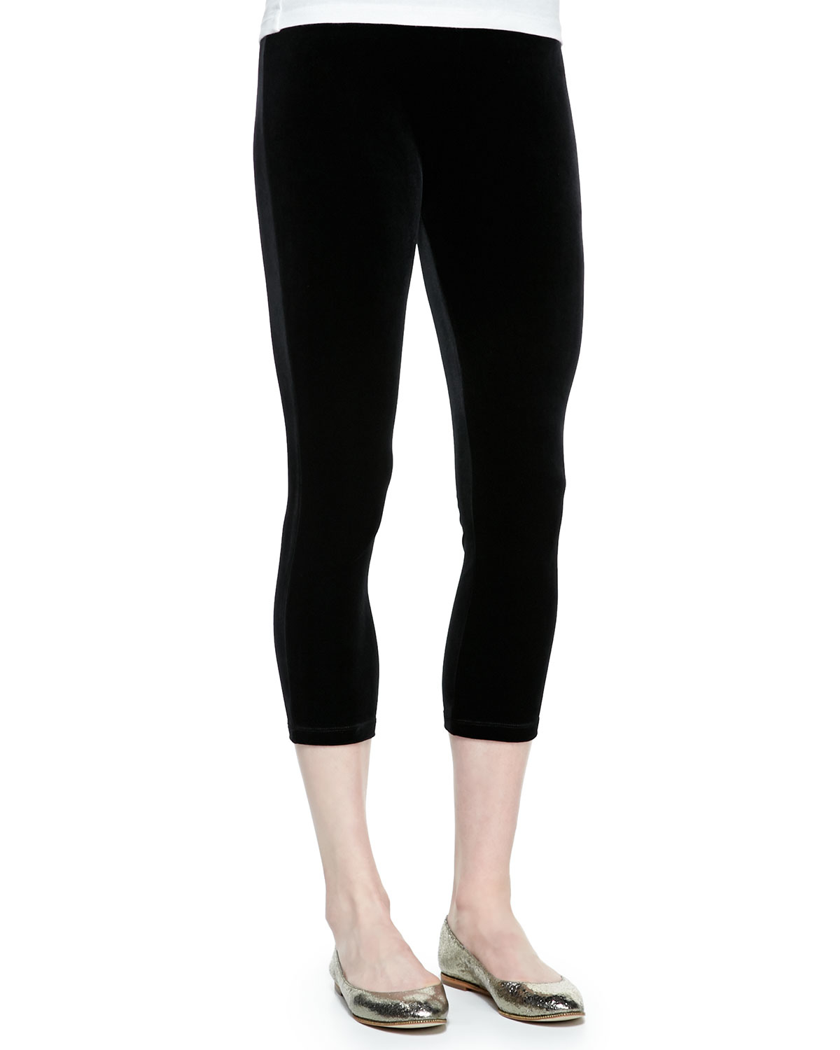 Joan Vass Velour Cropped Leggings In Black
