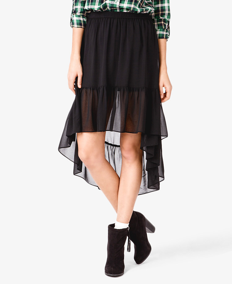forever 21 ruffled chiffon high low skirt in black lyst