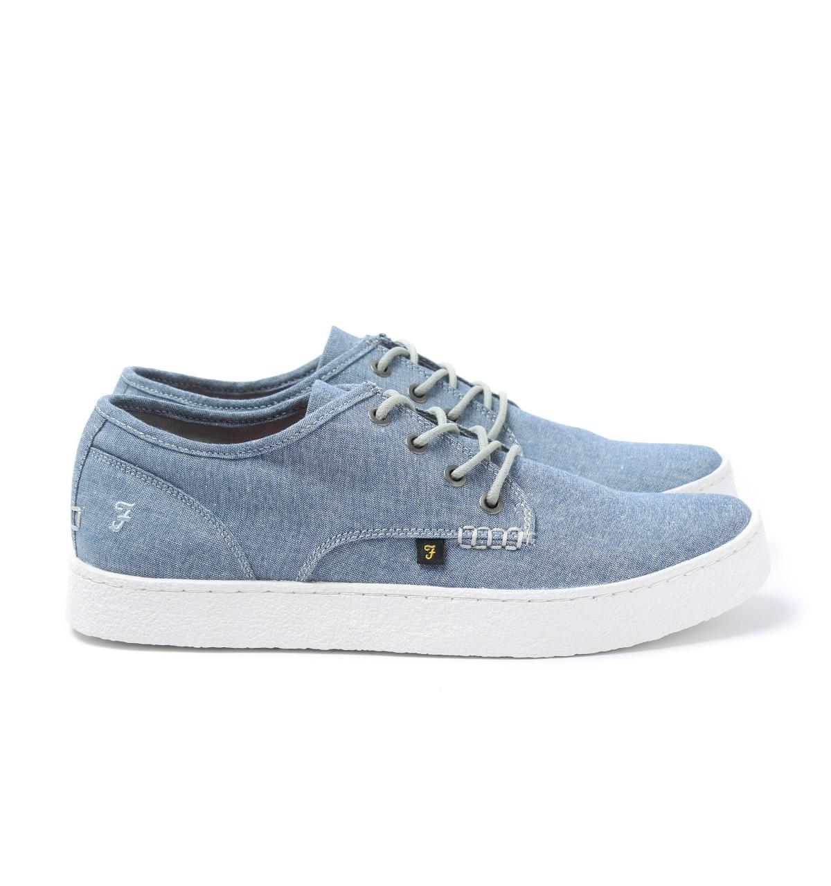 Farah Vintage Blue Chambray Canvas Trainers-UK 7 uJ94q1