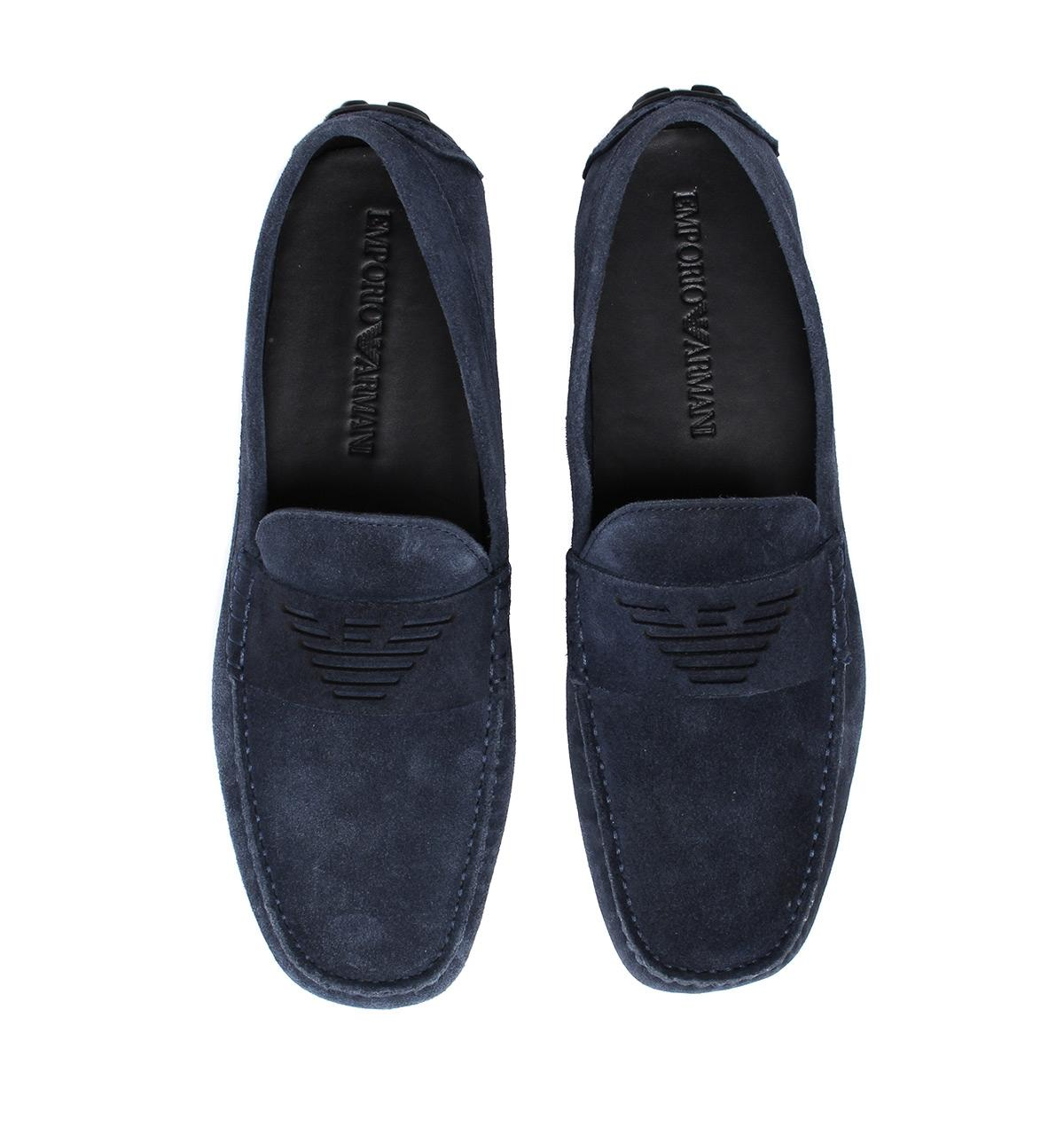 dd02fe0bbe60 Lyst - Emporio Armani Midnight Blue Suede Driving Shoes in Blue for Men
