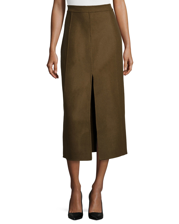 Jason wu Front-slit Wool Midi Skirt in Green | Lyst