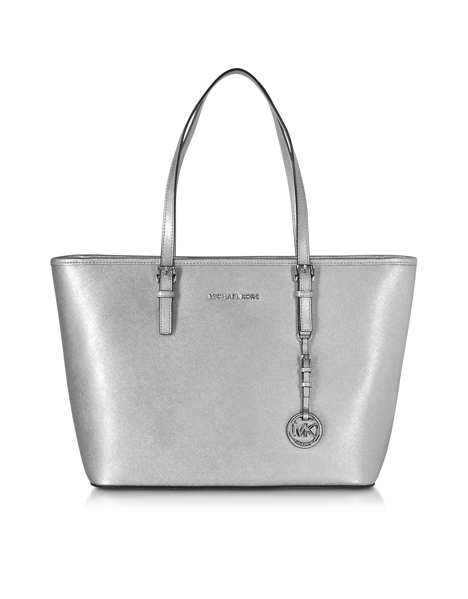 0013539f0ab75c Michael Kors Jet Set Travel Saffiano-Leather Tote in Metallic - Lyst
