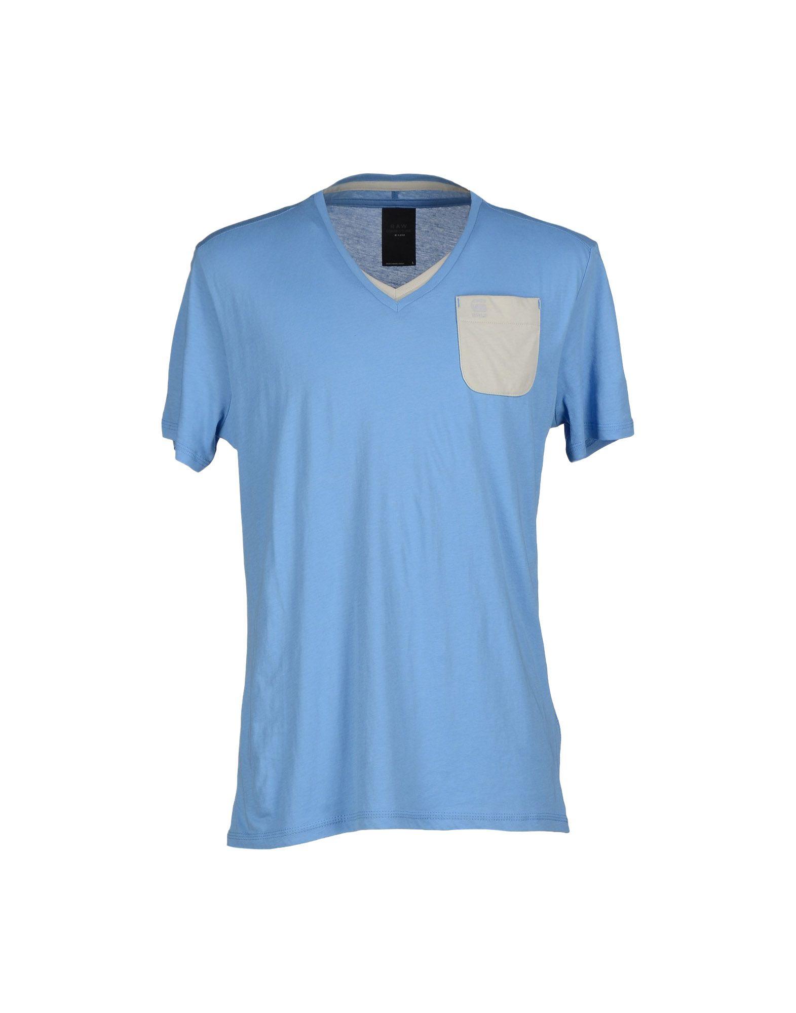 g star raw t shirt in blue for men azure. Black Bedroom Furniture Sets. Home Design Ideas