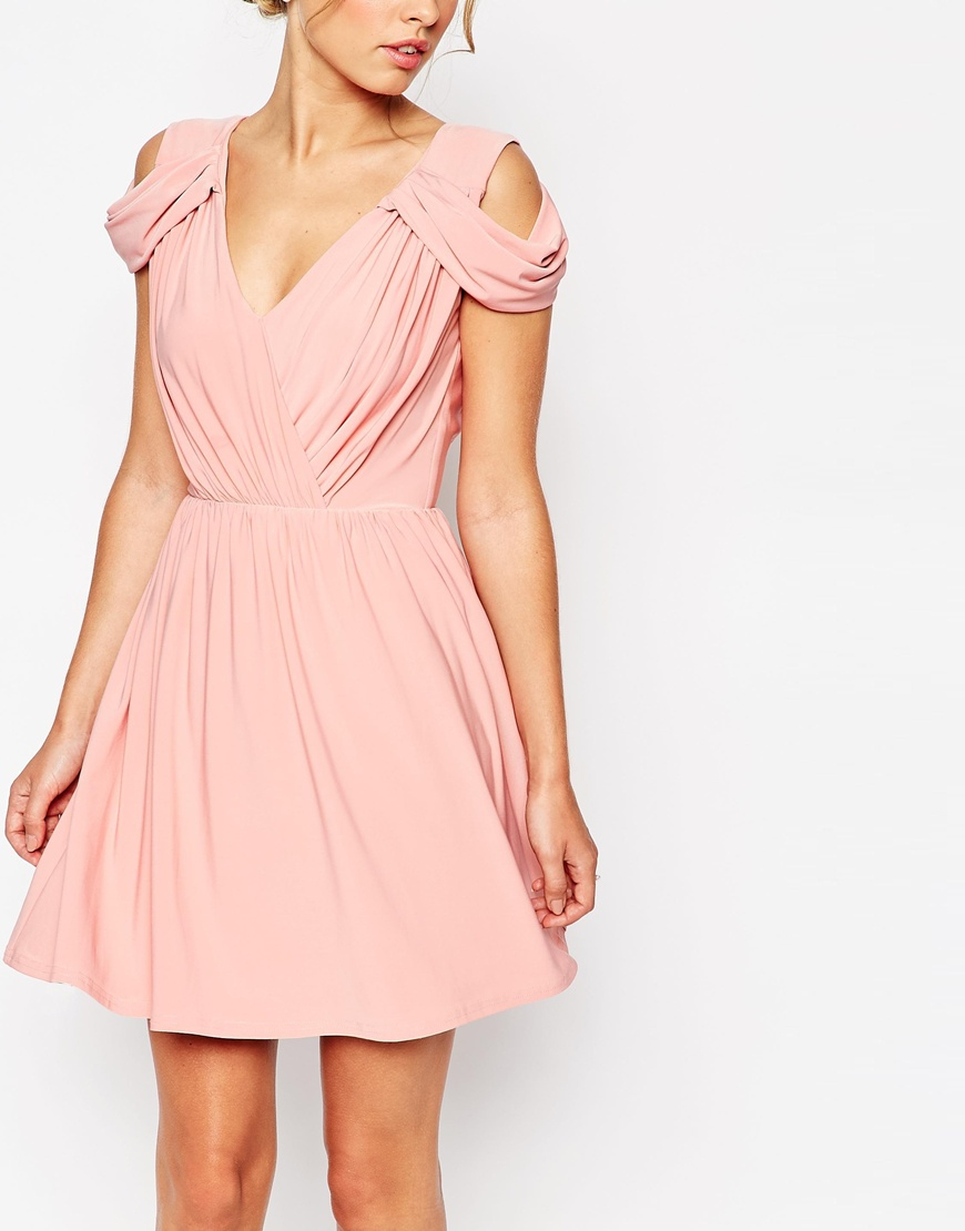 Lyst Asos Wedding Drape Cold Shoulder Mini Dress In Pink