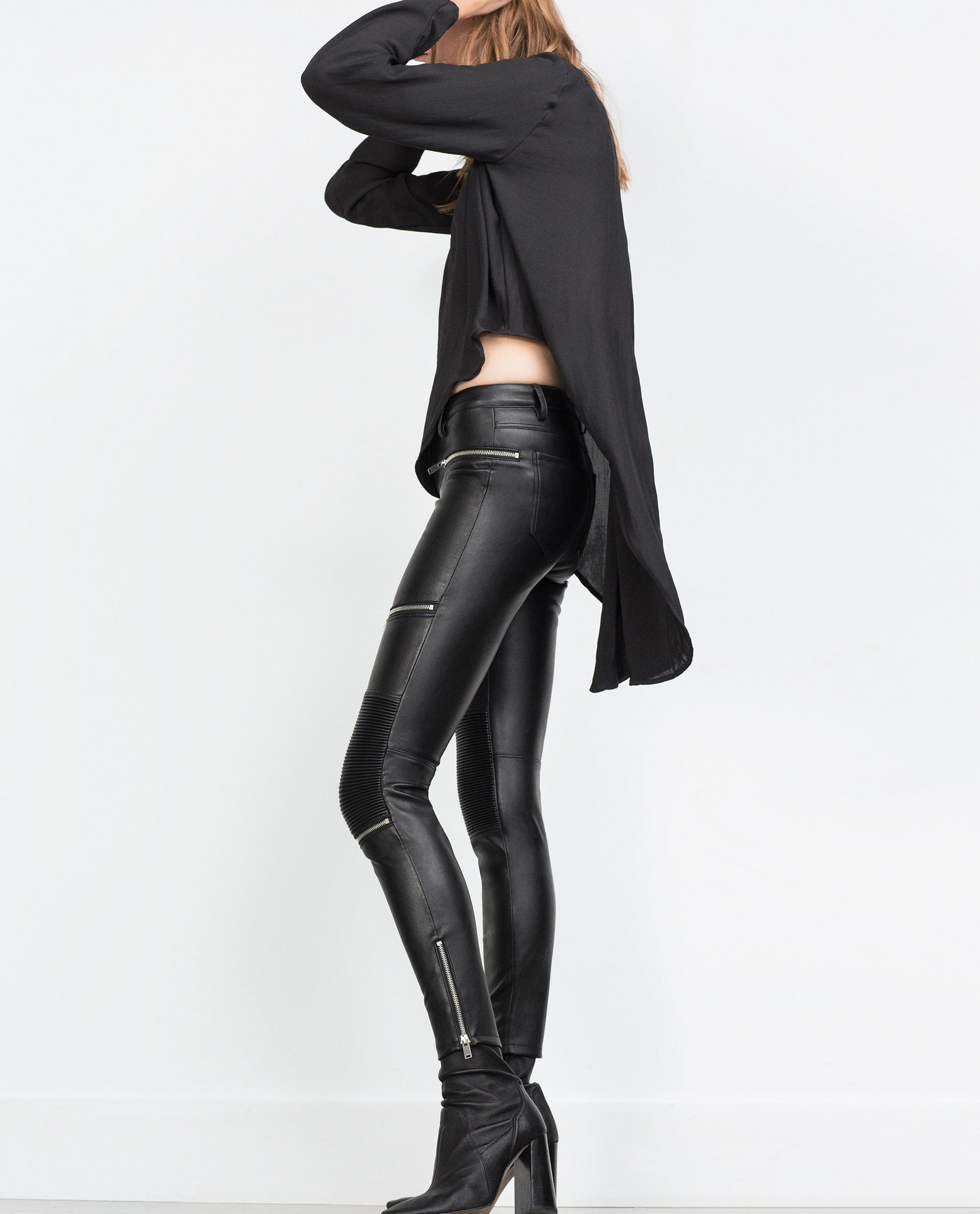 Black leather pants with zips