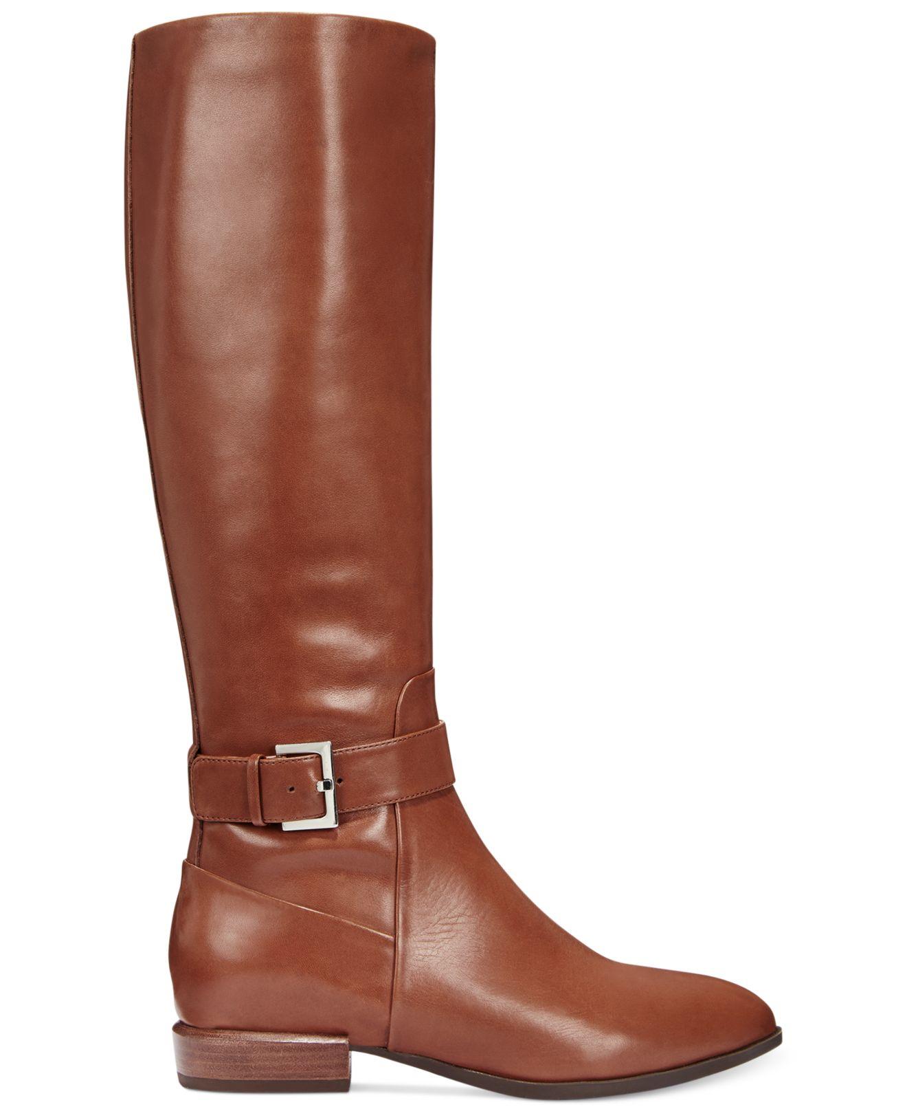 nine west brown diablo wide calf boots lyst