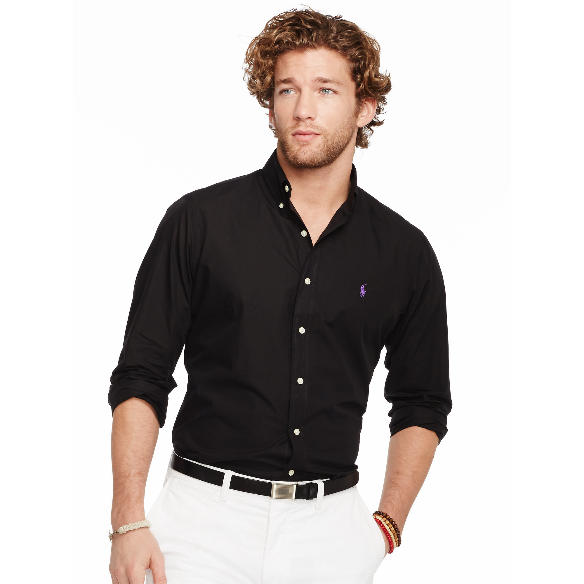 055f037ca62 ... promo code for lyst polo ralph lauren slim fit solid poplin shirt in  black for men