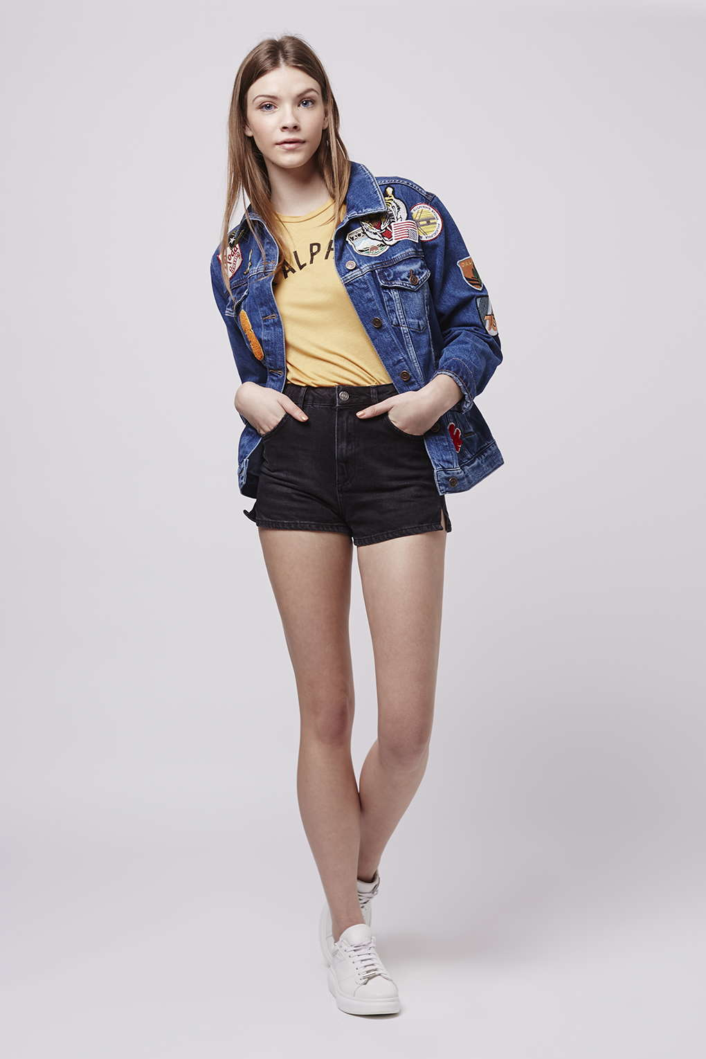 Topshop Moto High-waisted Mom Shorts in Black | Lyst
