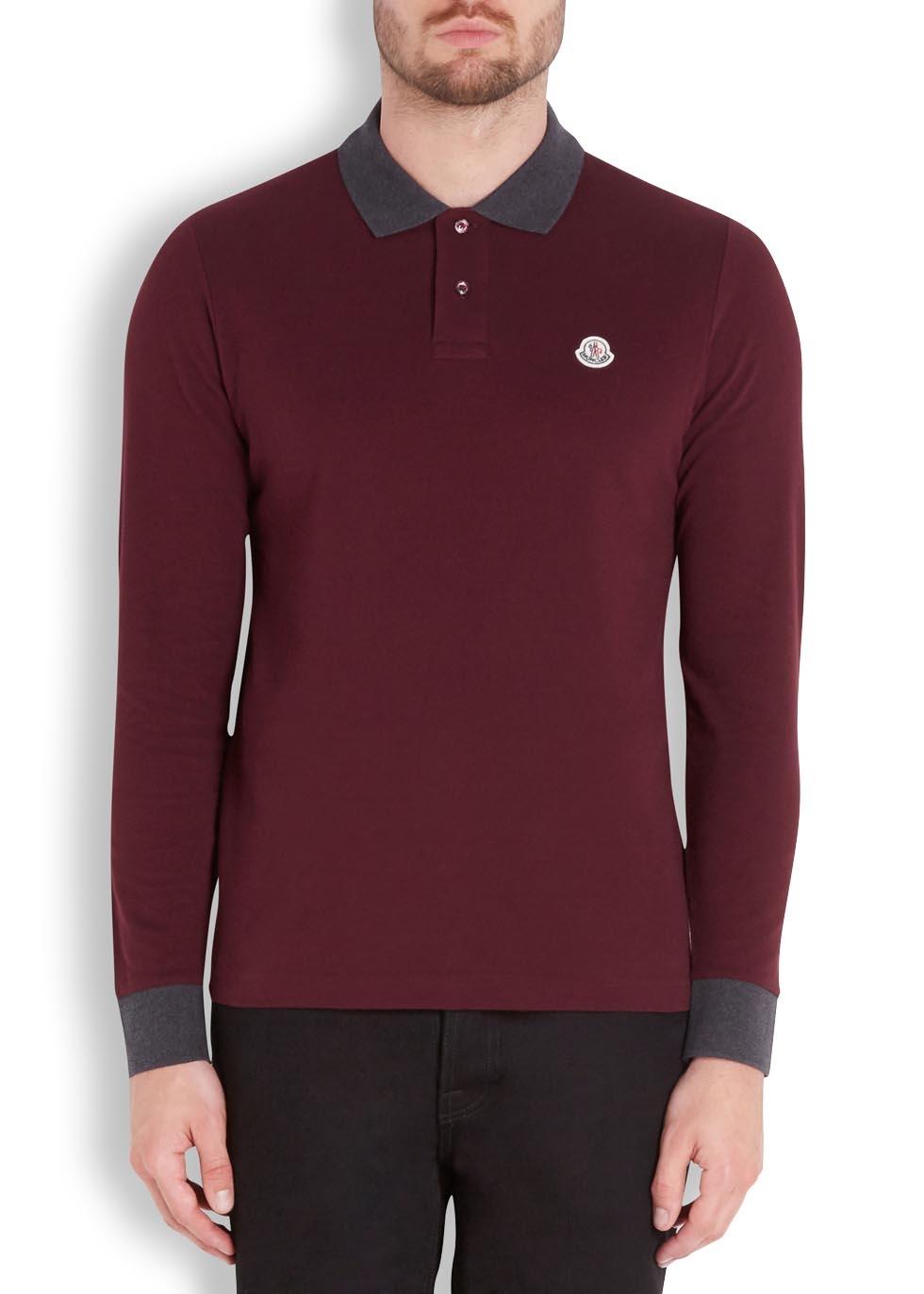 aeef8328c65e Moncler Bordeaux Piqué Cotton Polo Shirt in Purple for Men - Lyst