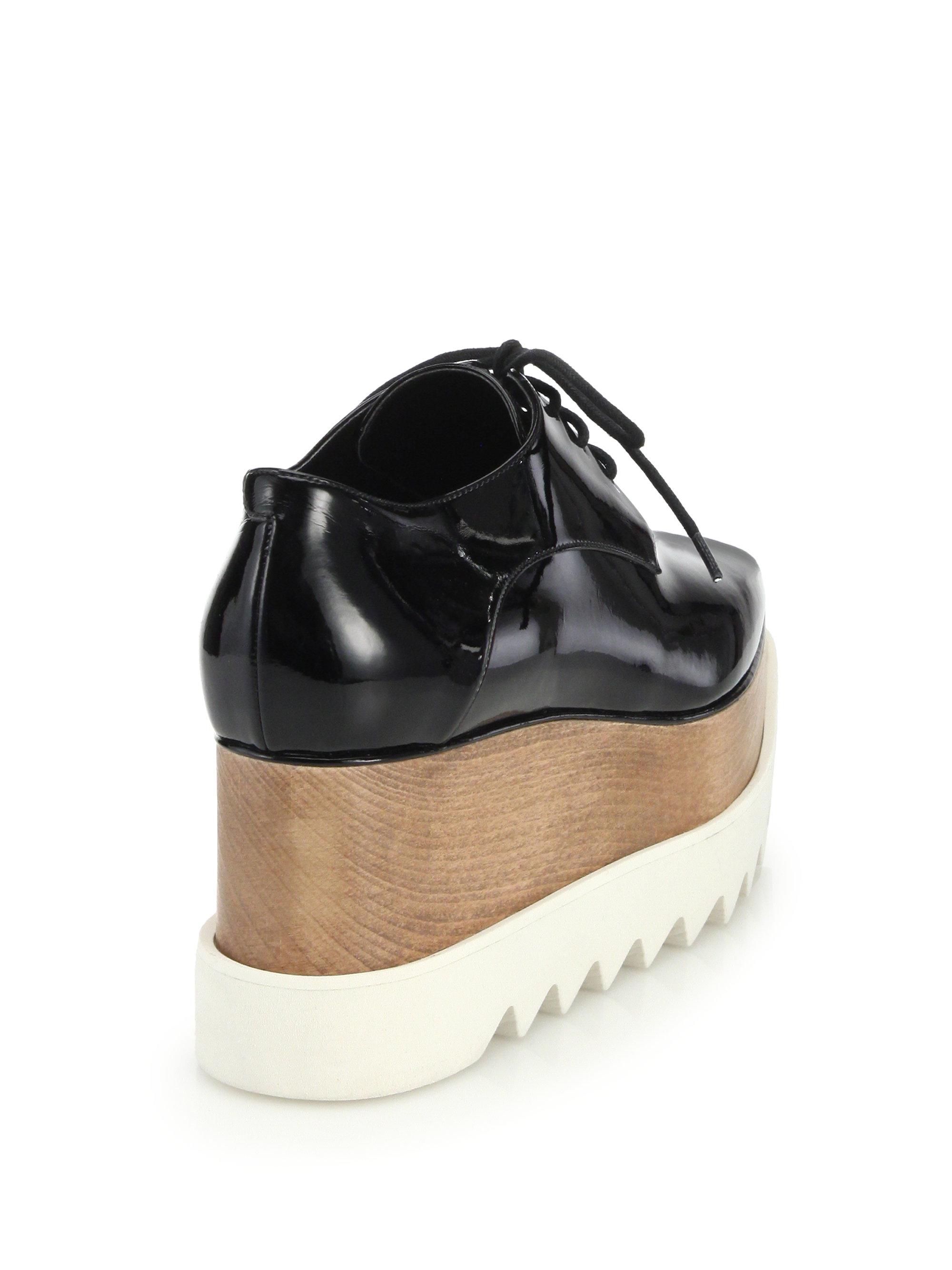 f6bd7c1d3e2 Lyst - Stella McCartney Wood   Rubber-platform Faux Patent Leather ...