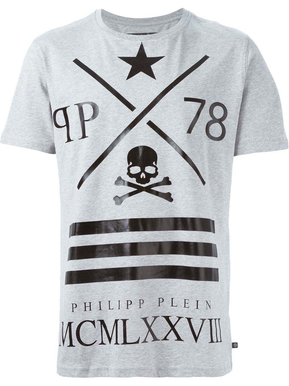 philipp plein logo print t shirt in gray for men grey lyst. Black Bedroom Furniture Sets. Home Design Ideas