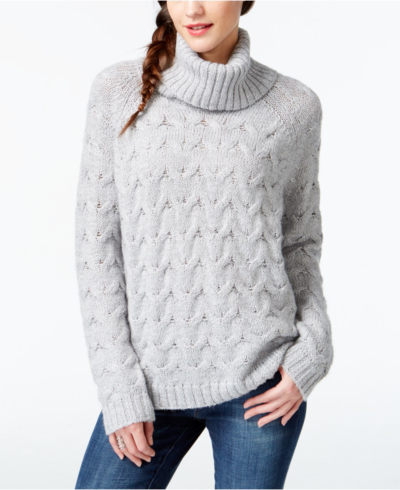 Lyst Gh Bass Co Cable Knit Turtleneck Sweater In Gray