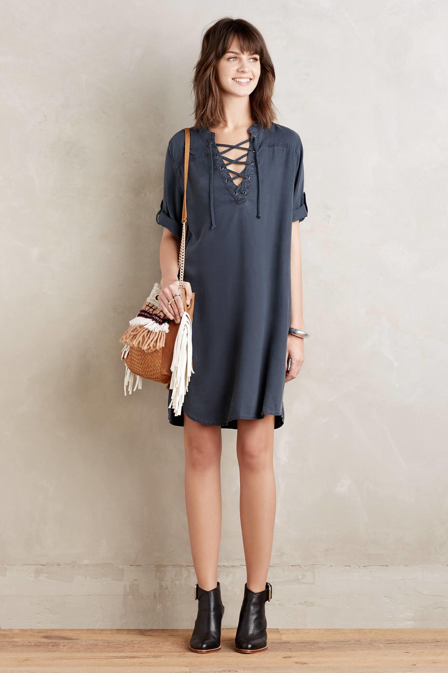 Cloth Amp Stone Denim Tie Neck Tunic Dress In Black Lyst
