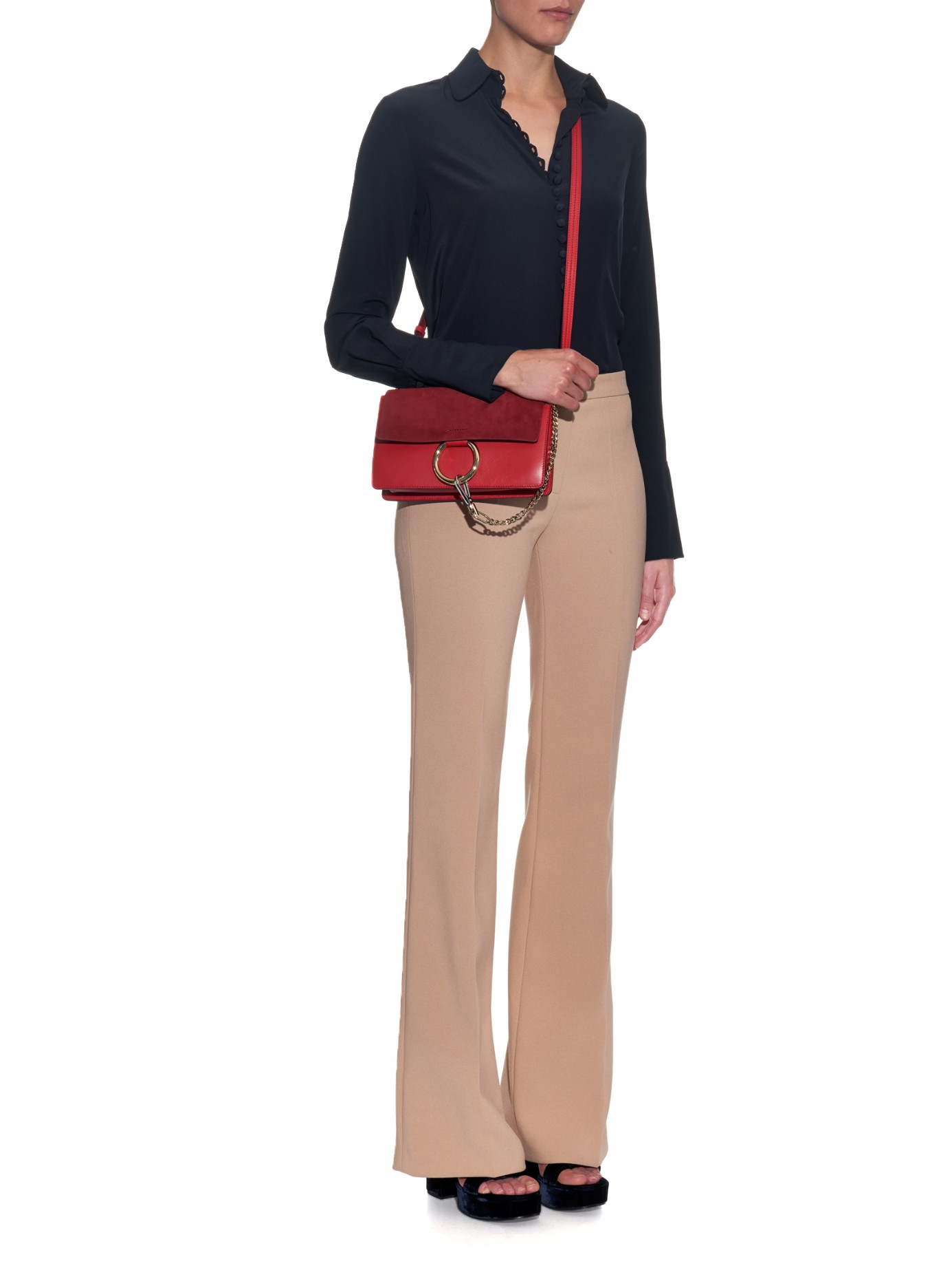replica chloe marcie - Chlo�� Faye Leather and Suede Cross-Body Bag in Red | Lyst