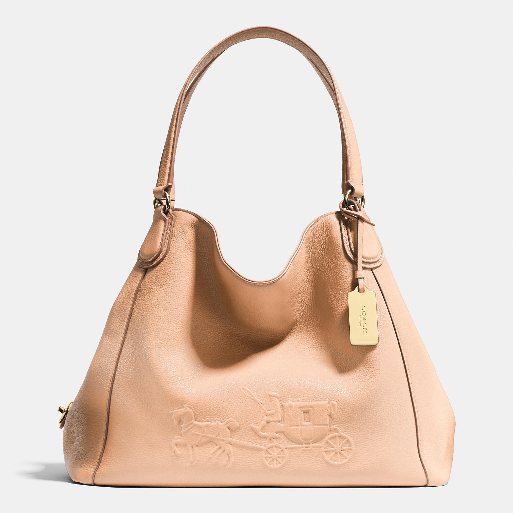 7ad26fed04 Lyst - COACH Embossed Horse And Carriage Edie Shoulder Bag In ...